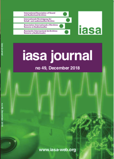 Cover of the IASA Journal, Issue 49, December 2018.