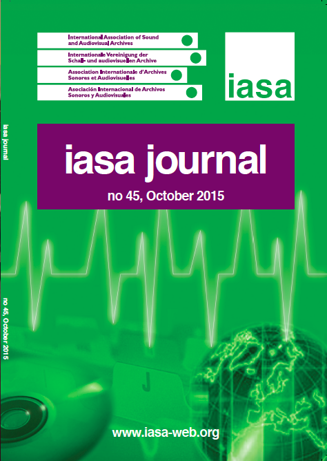 Cover of the IASA Journal, Issue 45, October 2015.
